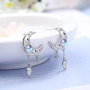 NEW 925 Sterling Silver Diamond Moon Earrings